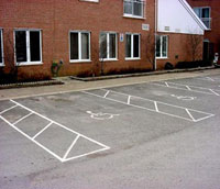 Housing project designated parking spaces